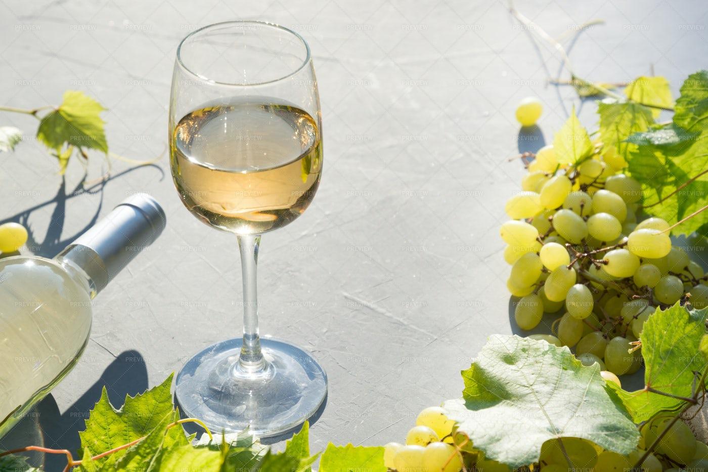 White Wine With Grape: Stock Photos