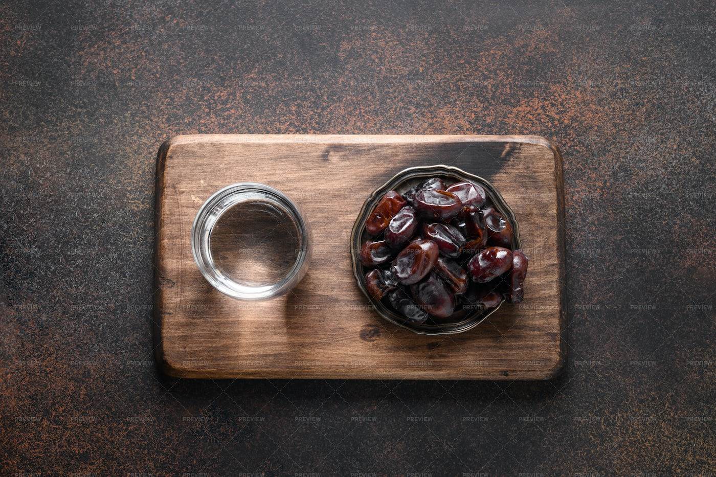 Dates And Water: Stock Photos