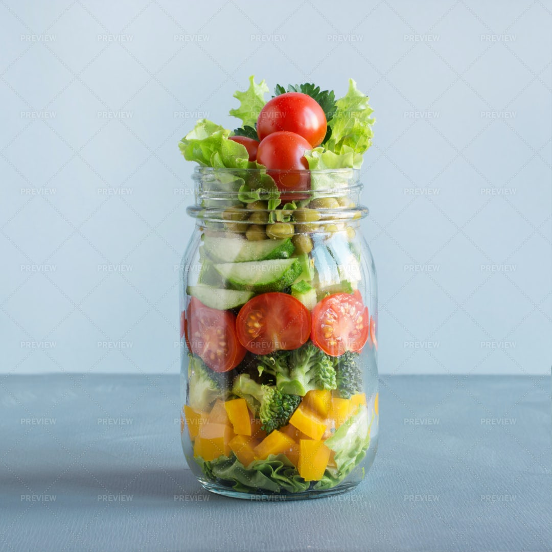 Salad In A Mason Jar: Stock Photos