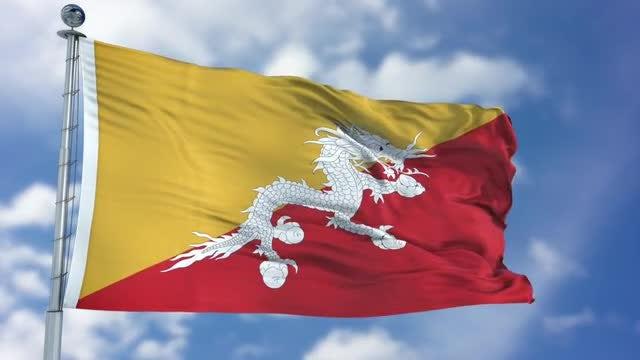 Bhutan Flag Animation: Stock Motion Graphics