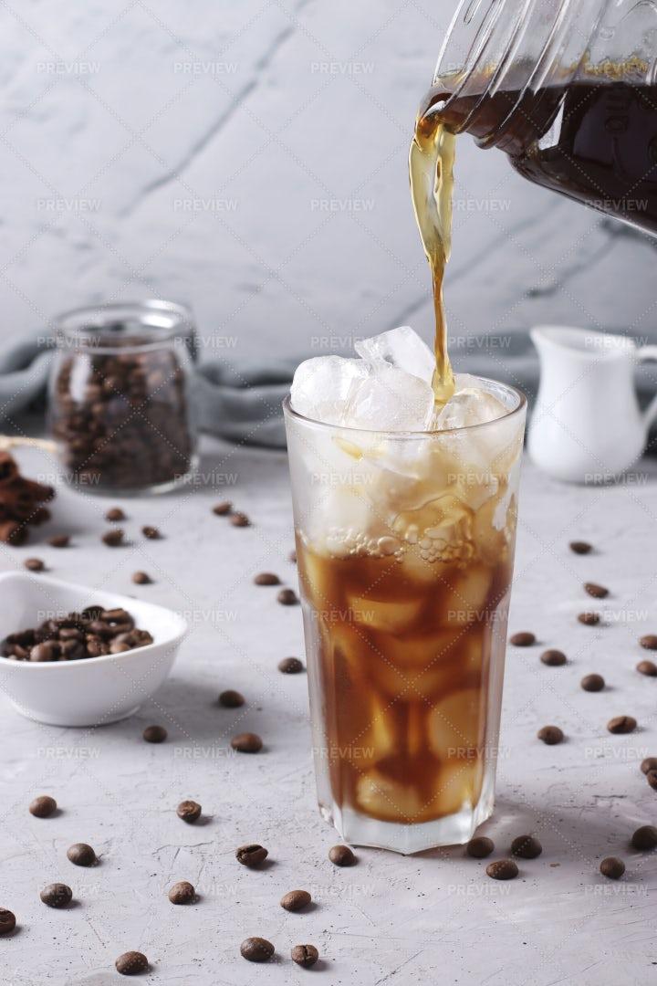 Pouring Cold Coffee: Stock Photos