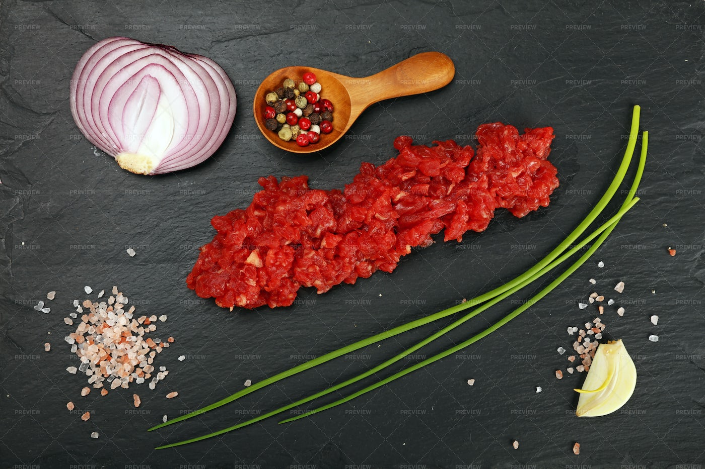 Minced Meat And Ingredients: Stock Photos