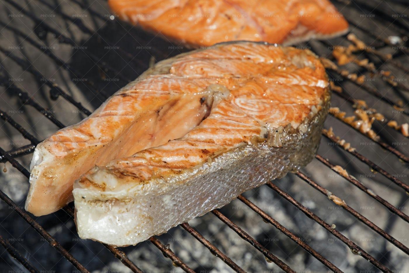 Grilling Salmon Fish Steak: Stock Photos