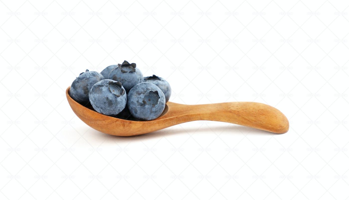 Blueberries In Spoon: Stock Photos