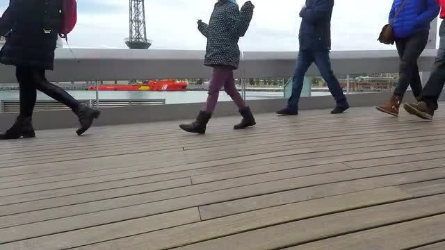 Walking On Wooden Pier Bridge: Stock Video