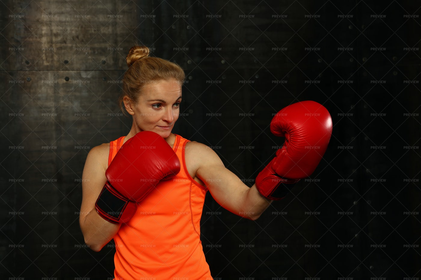 Woman In Fighting Stance: Stock Photos