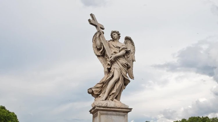 Angel Statue In Rome Timelapse 4k: Stock Video