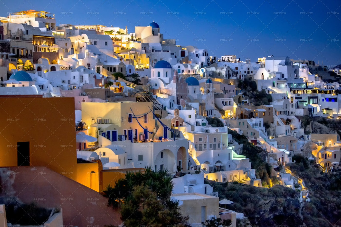 Oia Santorini At Night: Stock Photos
