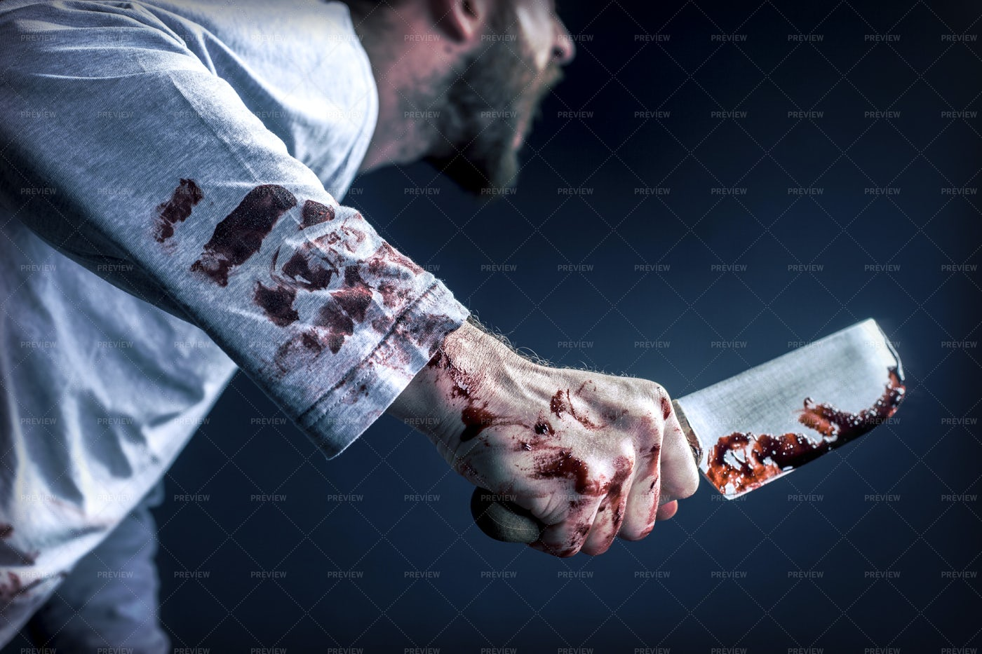 Holding A Bloody Knife: Stock Photos