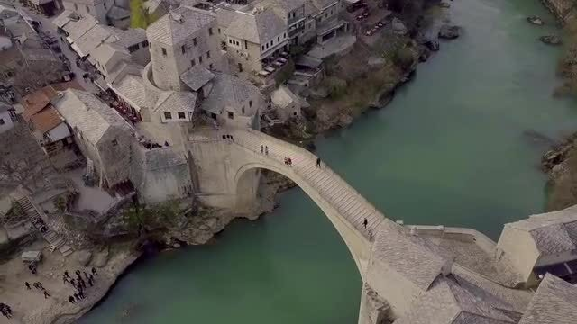 Old Bridge In Bosnia: Stock Video