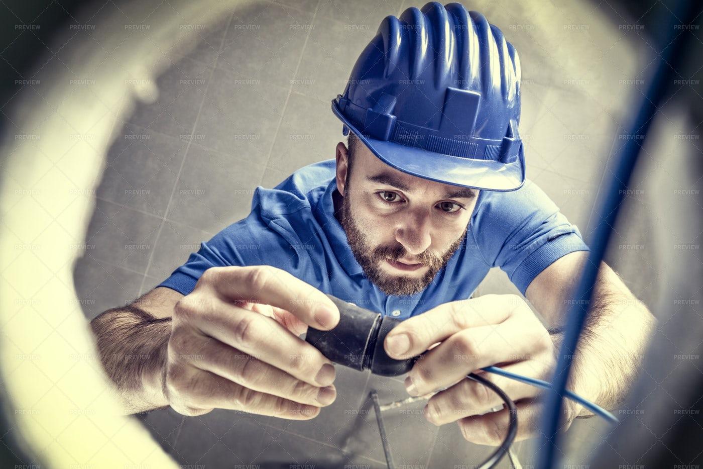 Electrician At Work: Stock Photos