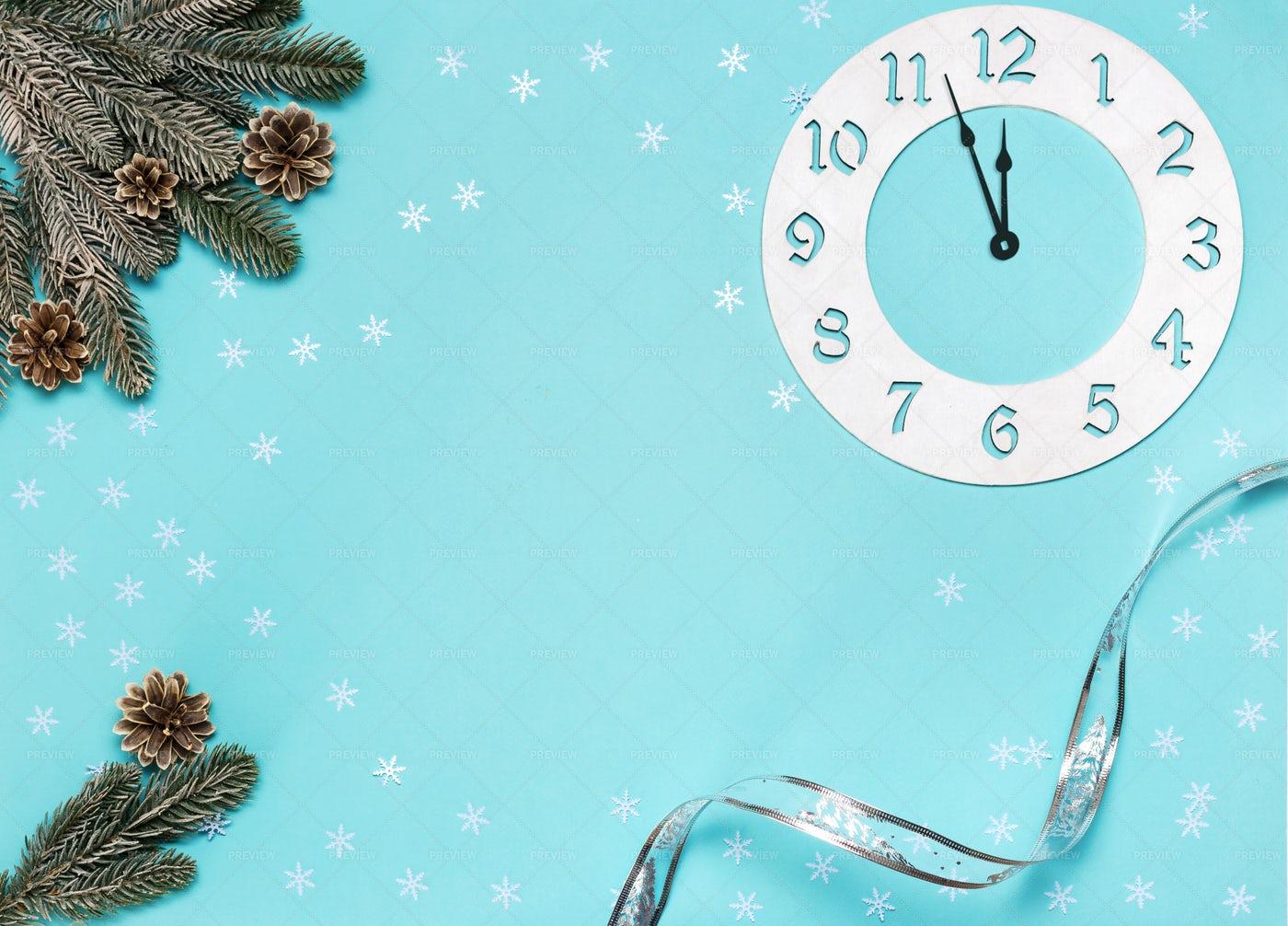 Christmas Decorations On Blue: Stock Photos