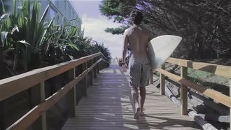 Surfer Walking With Surf Board : Stock Video