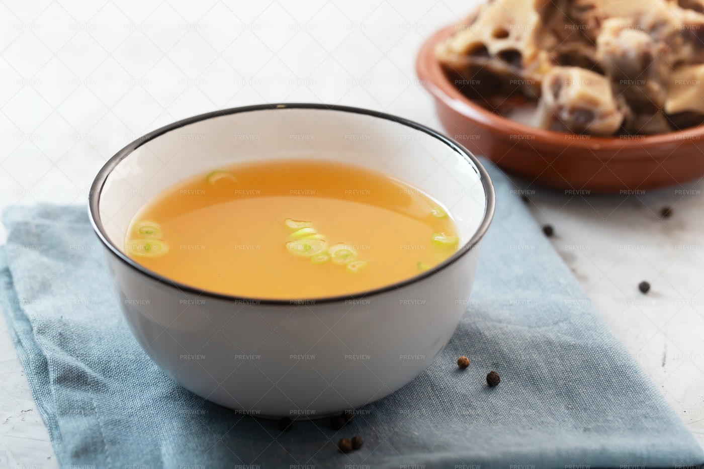 A Bowl Of Beef Broth: Stock Photos