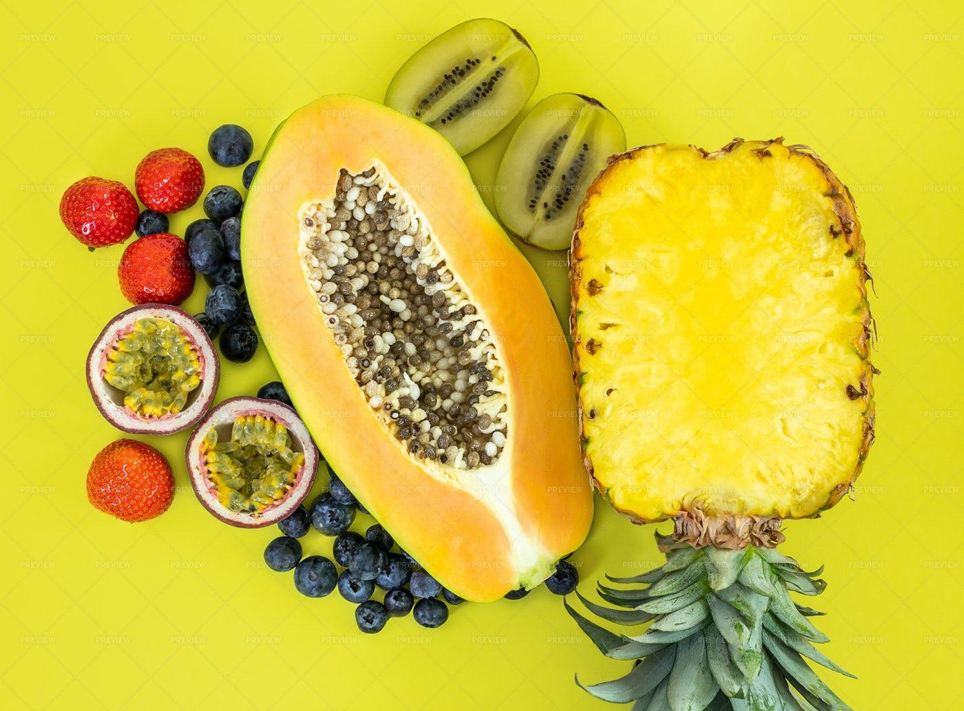 Halved Tropical Fruit: Stock Photos