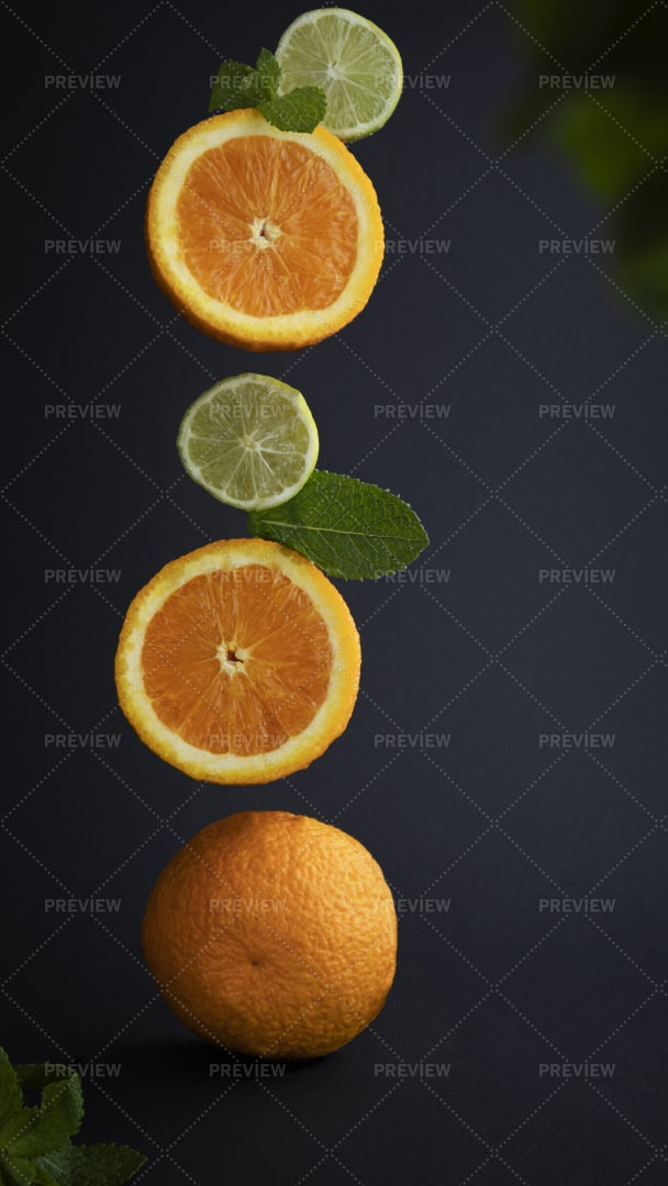 Falling Fruits And Mint: Stock Photos