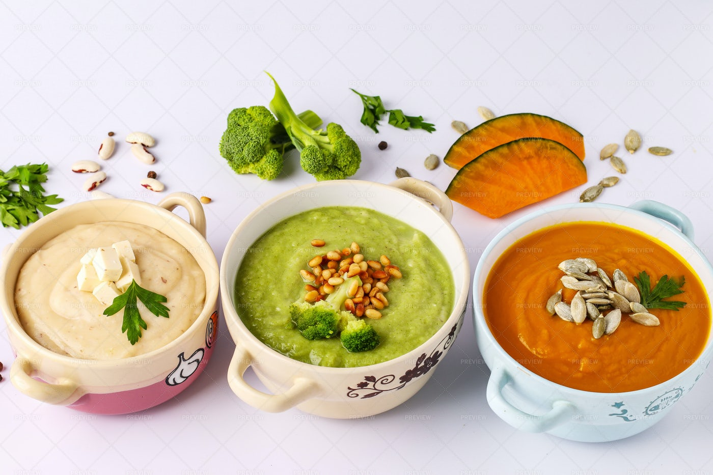 Variety Of Vegetables Cream Soups: Stock Photos