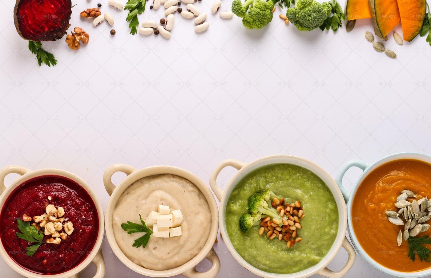 Four Vegetables Cream Soups: Stock Photos