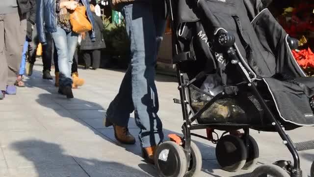 Pedestrians On A Busy Street: Stock Video