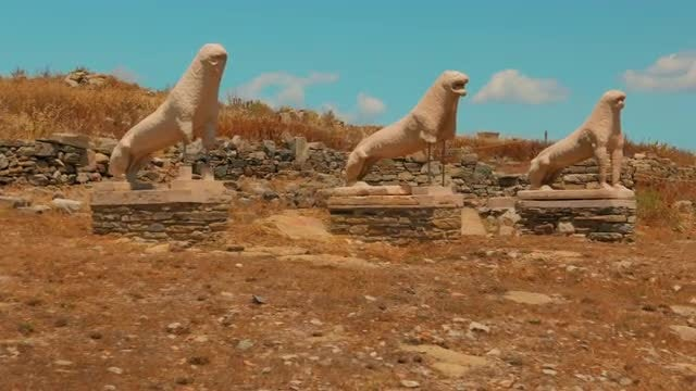 Terrace Of Lions In Greece : Stock Video