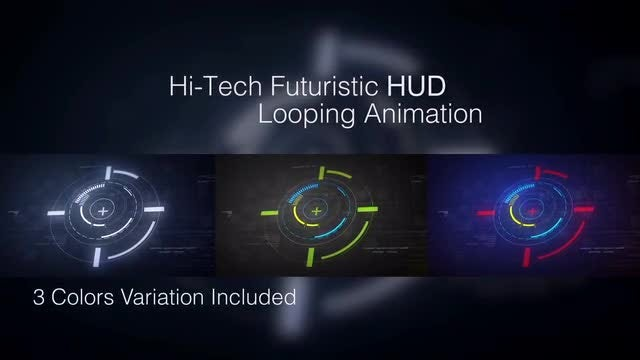 Circular Hi-tech HUD Icons Pack: Stock Motion Graphics