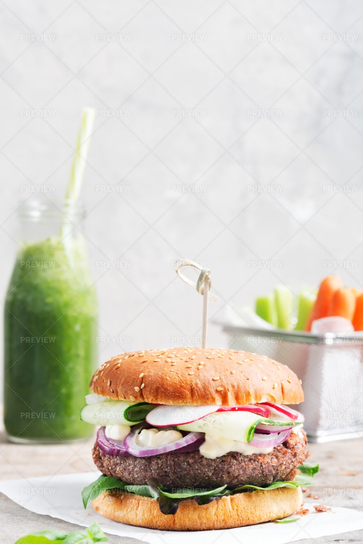 Burger And Smoothie: Stock Photos