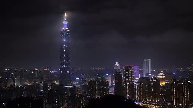Night City Skyline Taipei Taiwan: Stock Video