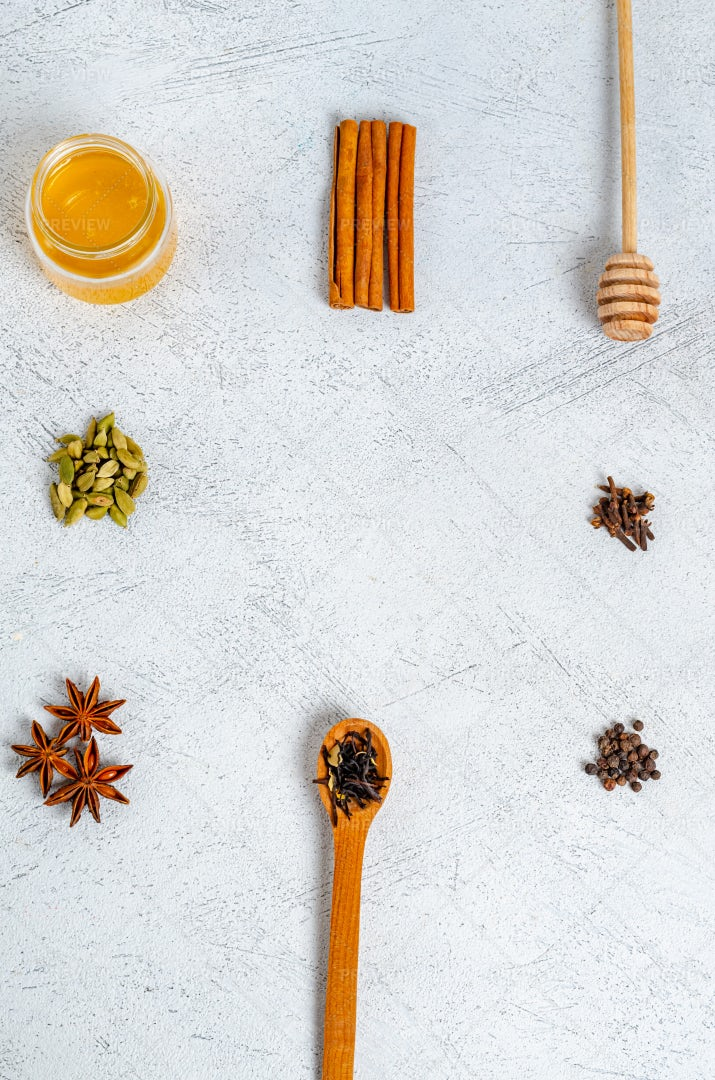 Masala Tea Ingredients: Stock Photos