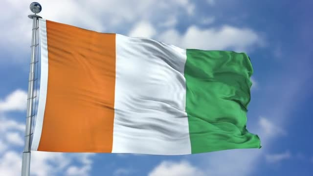 Cote d'lvoire Flag Animation: Stock Motion Graphics
