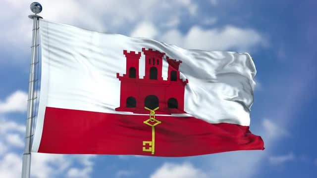 Gibraltar Flag Animation: Stock Motion Graphics