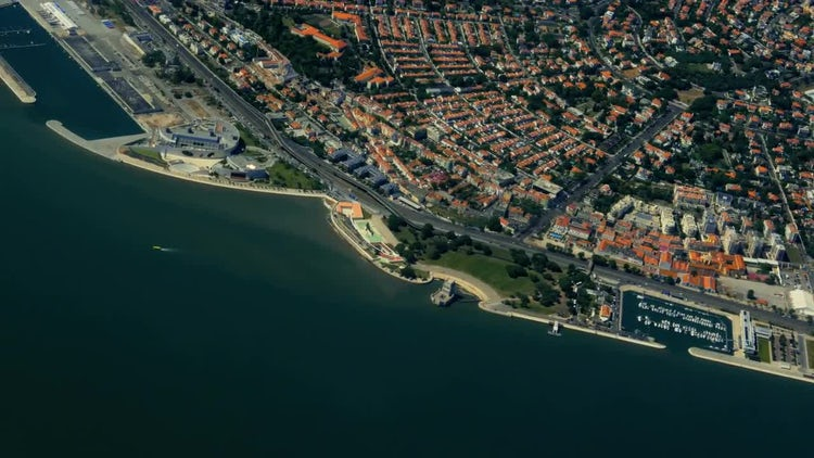Aerial View Of The Downtown Of Lisbon, Portugal: Stock Video