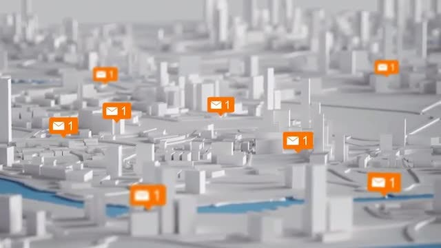 3D Map With Message Icons: Stock Motion Graphics