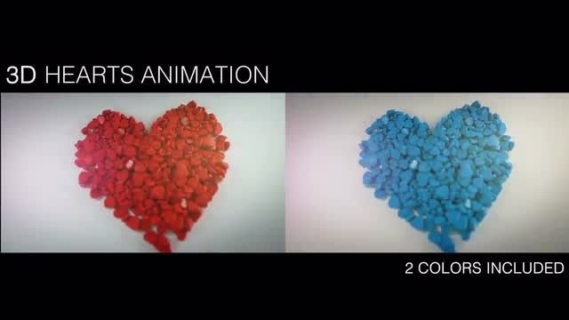 2 In 1 Pile Of 3D Hearts : Stock Motion Graphics