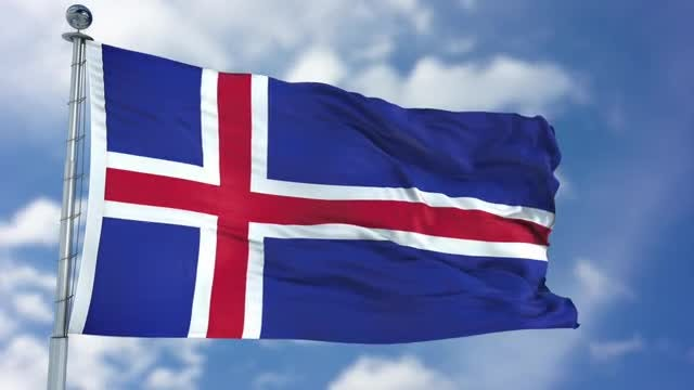 Iceland Flag Animation: Stock Motion Graphics