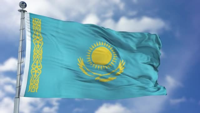 Kazakhstan Flag Animation: Stock Motion Graphics