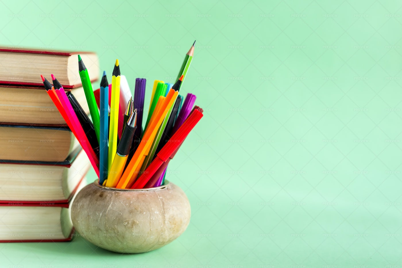 Colorful Books And Pencils: Stock Photos