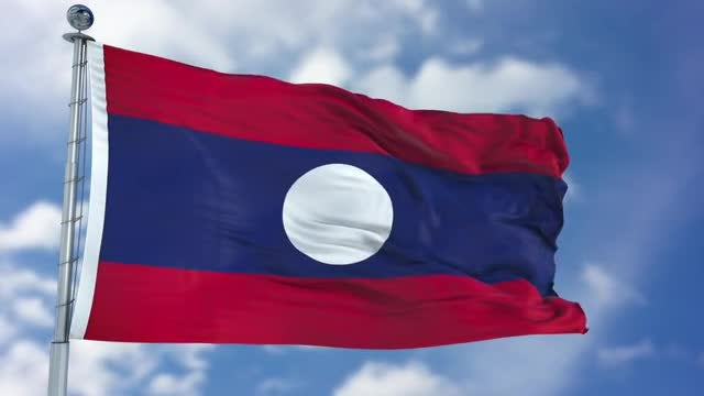 Laos Flag Animation: Stock Motion Graphics
