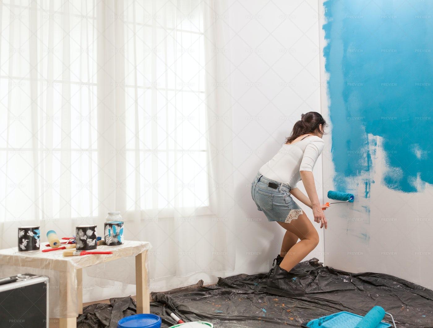 Painting An Apartment Wall: Stock Photos