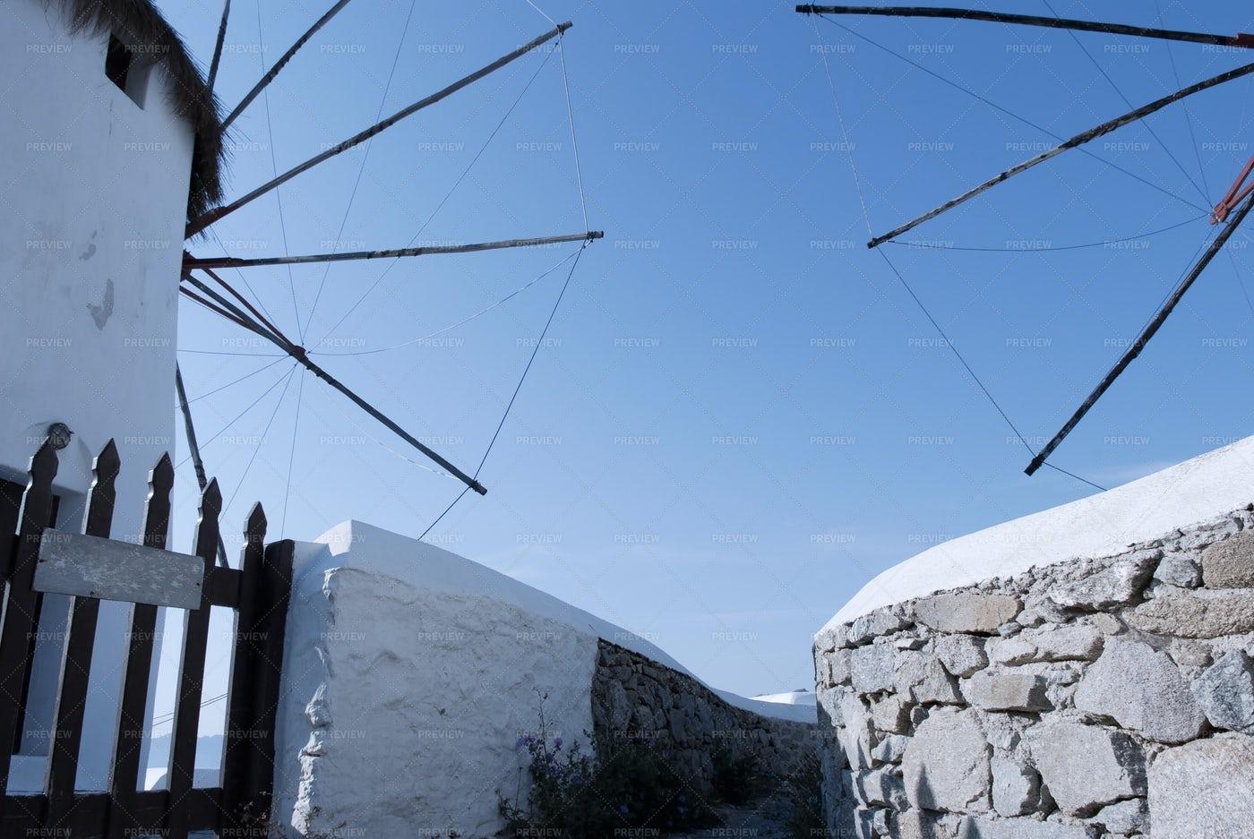 Windmills In Mykonos: Stock Photos