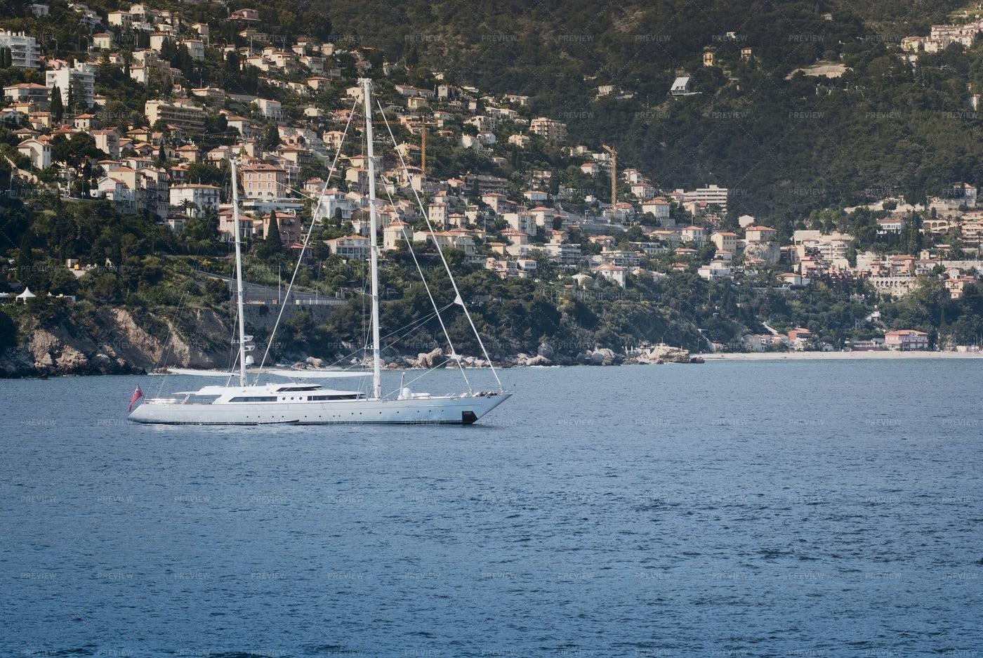 Large Luxury Sailboat Anchored: Stock Photos