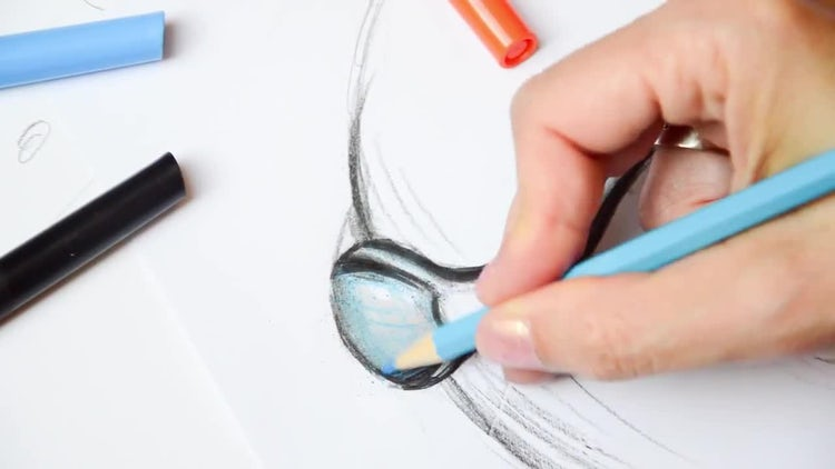 Fine Artist Drawing On Paper: Stock Video
