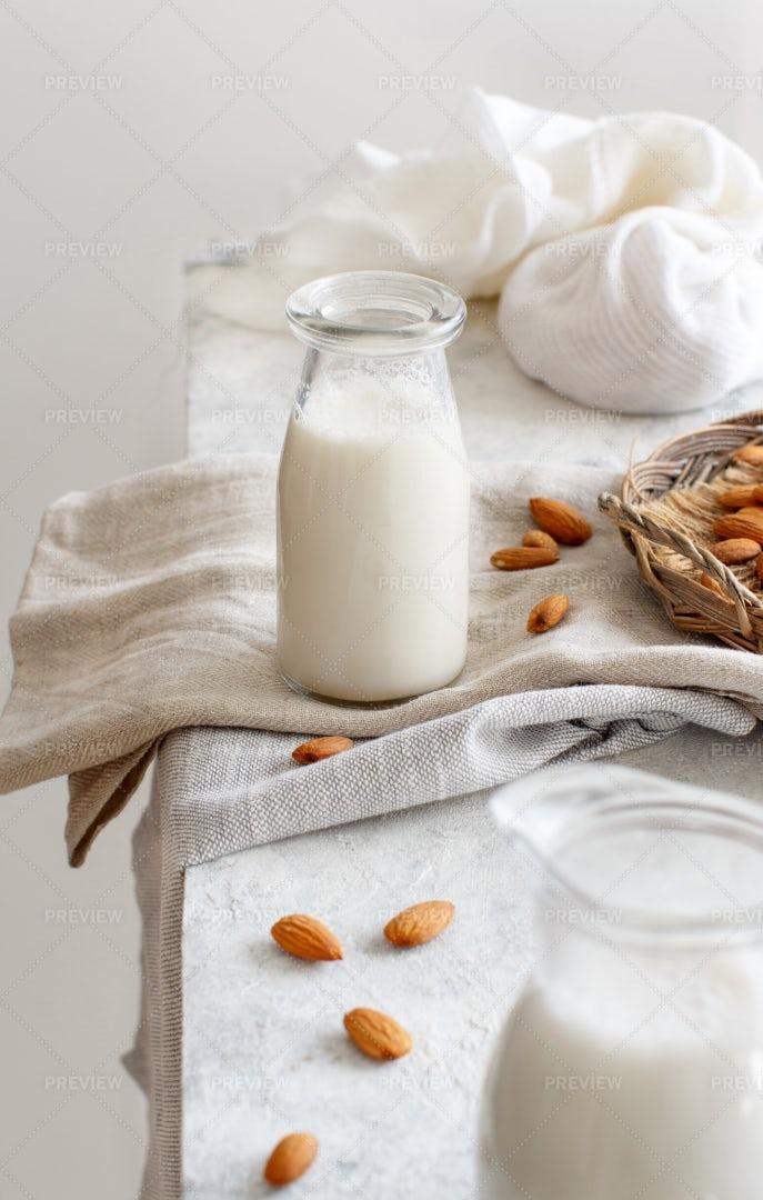 Almond Milk In A Bottle: Stock Photos