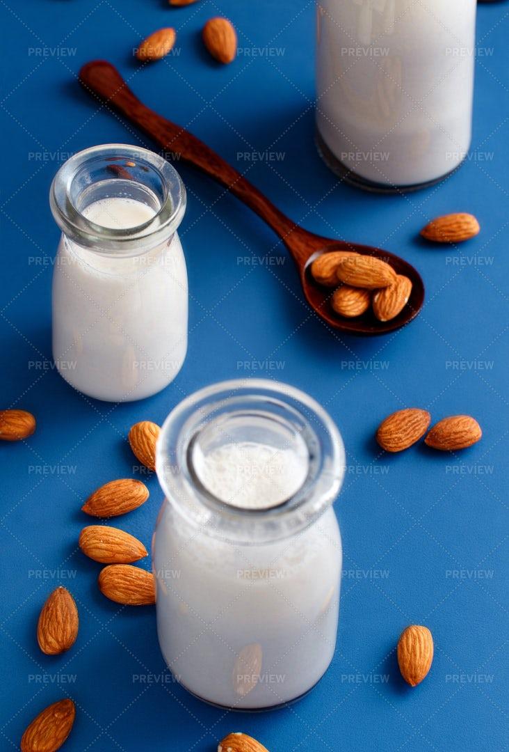 Three Bottles Of Almond Milk: Stock Photos