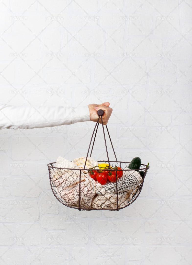 Holding A Food Basket: Stock Photos