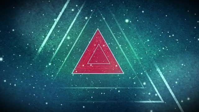 Red Triangle Icon In Space: Stock Motion Graphics