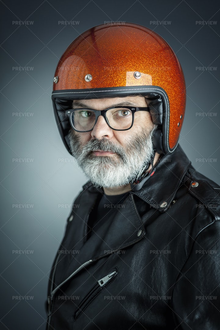 Biker In Helmet Portrait: Stock Photos