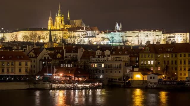 Time-lapse of  Prague's Old Town District  at Night: Stock Video