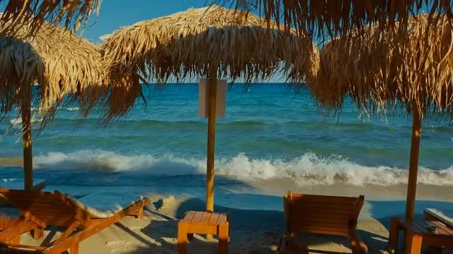 Wooden Loungers On The Beach: Stock Video