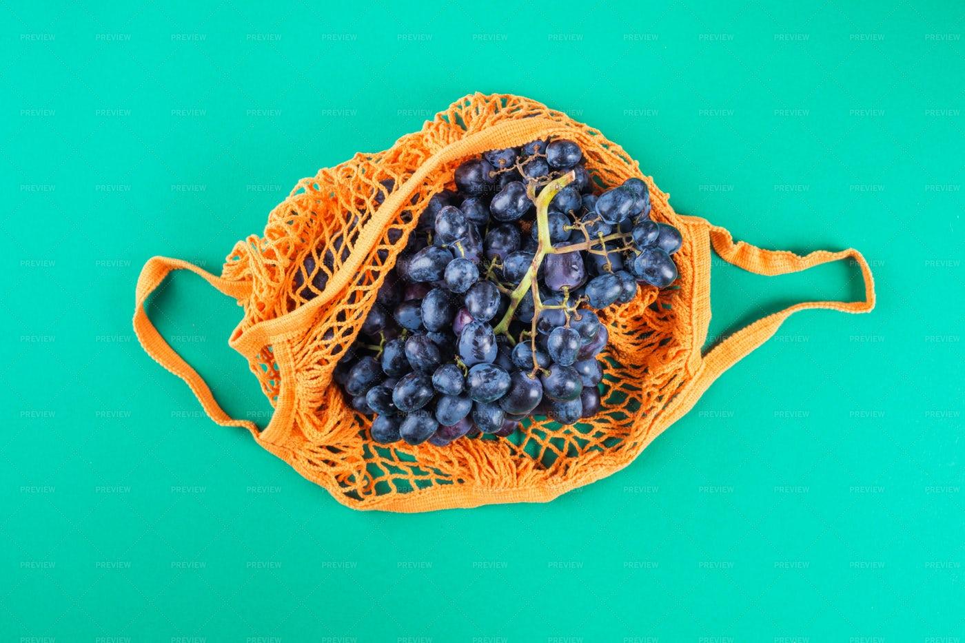Mesh Bag Of Grapes: Stock Photos