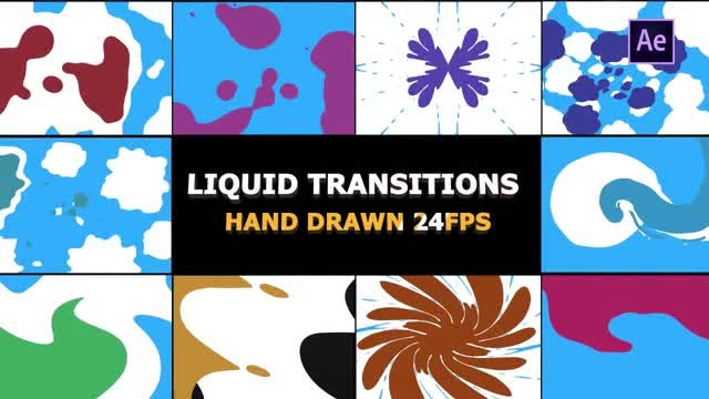 2D FX Liquid Transitions: After Effects Templates